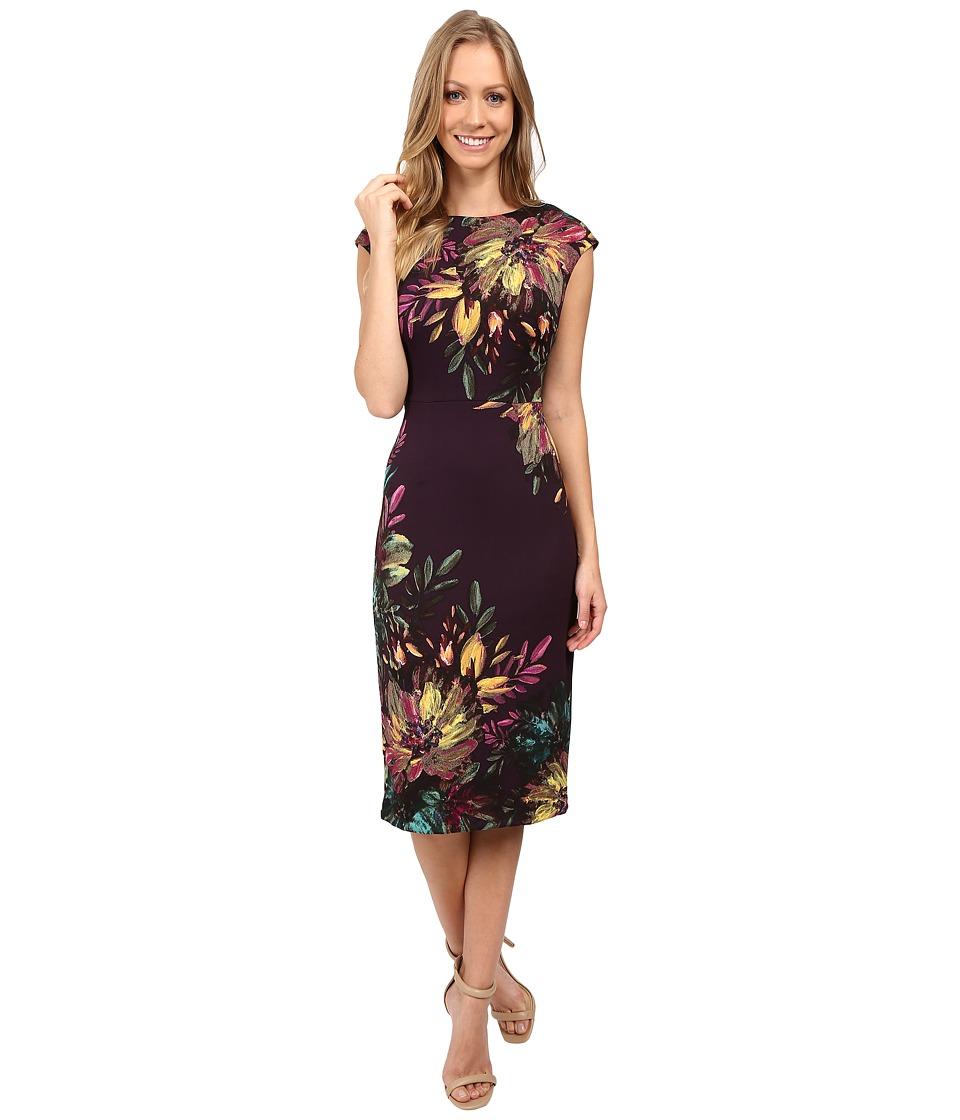 Maggy London - Brushed Petals Print Scuba Sheath (Eggplant/Yellow) Women's Dress
