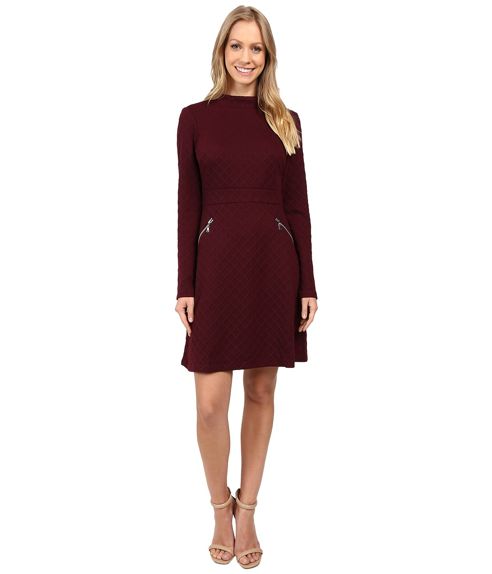 Maggy London Diamond Knit Jacquard Fit and Flare (Dry Cherry) Women