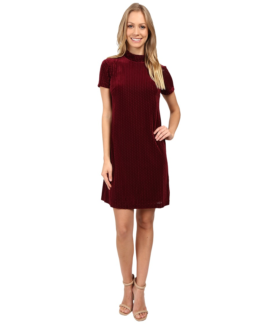 Maggy London Diamond Dot Burnout High Neck Fit and Flare (Wine) Women