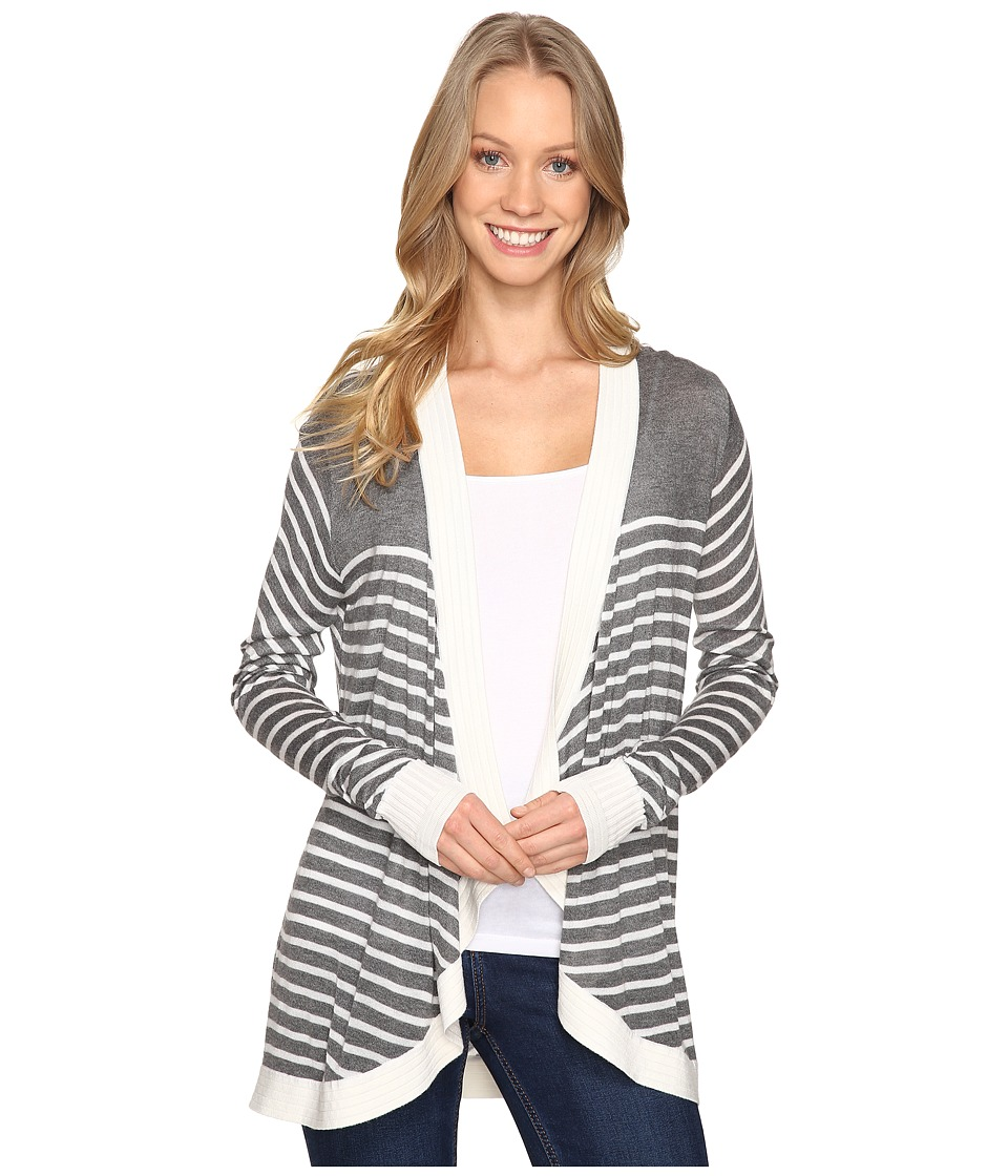 B Collection by Bobeau - Markena Stripe Waterfall Sweater (Heather Grey) Women's Sweater