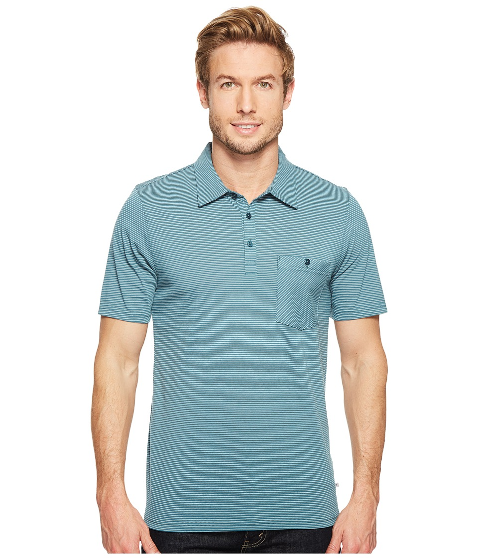 Toad&Co - Embarko Short Sleeve Polo Shirt (Hydro Stripe) Men's Short Sleeve Knit