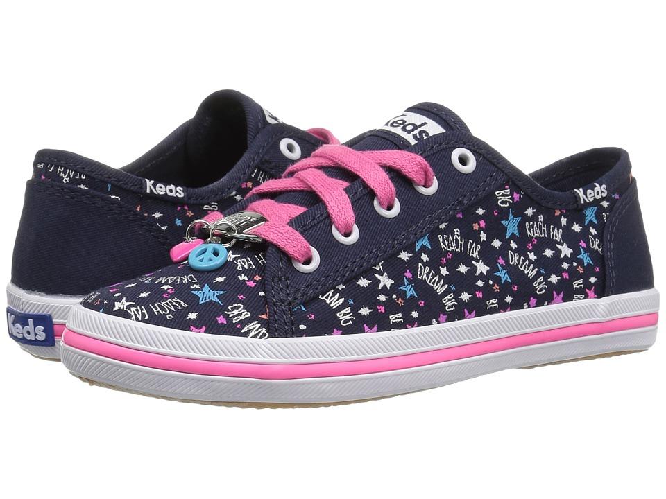 Keds Kids - Kickstart Charm (Little Kid/Big Kid) (Navy/Pink Stars) Girl's Shoes