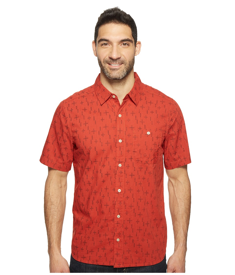 Toad&Co - Fletch Print Short Sleeve Shirt (Red Clay Print) Men's Short Sleeve Button Up