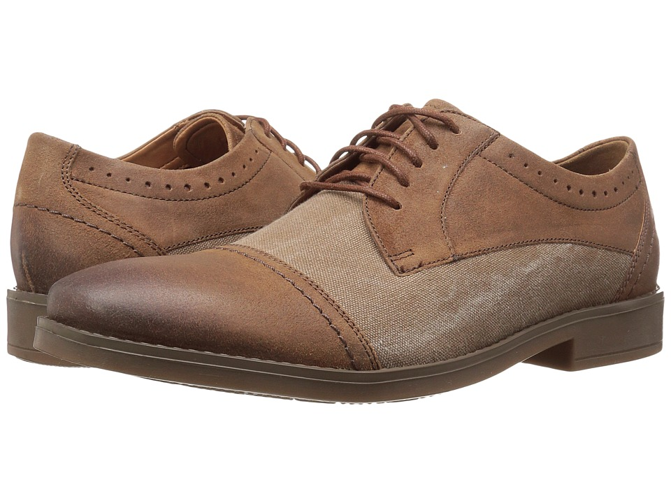 Clarks - Garren Cap (Tan Leather/Canvas) Men's Shoes
