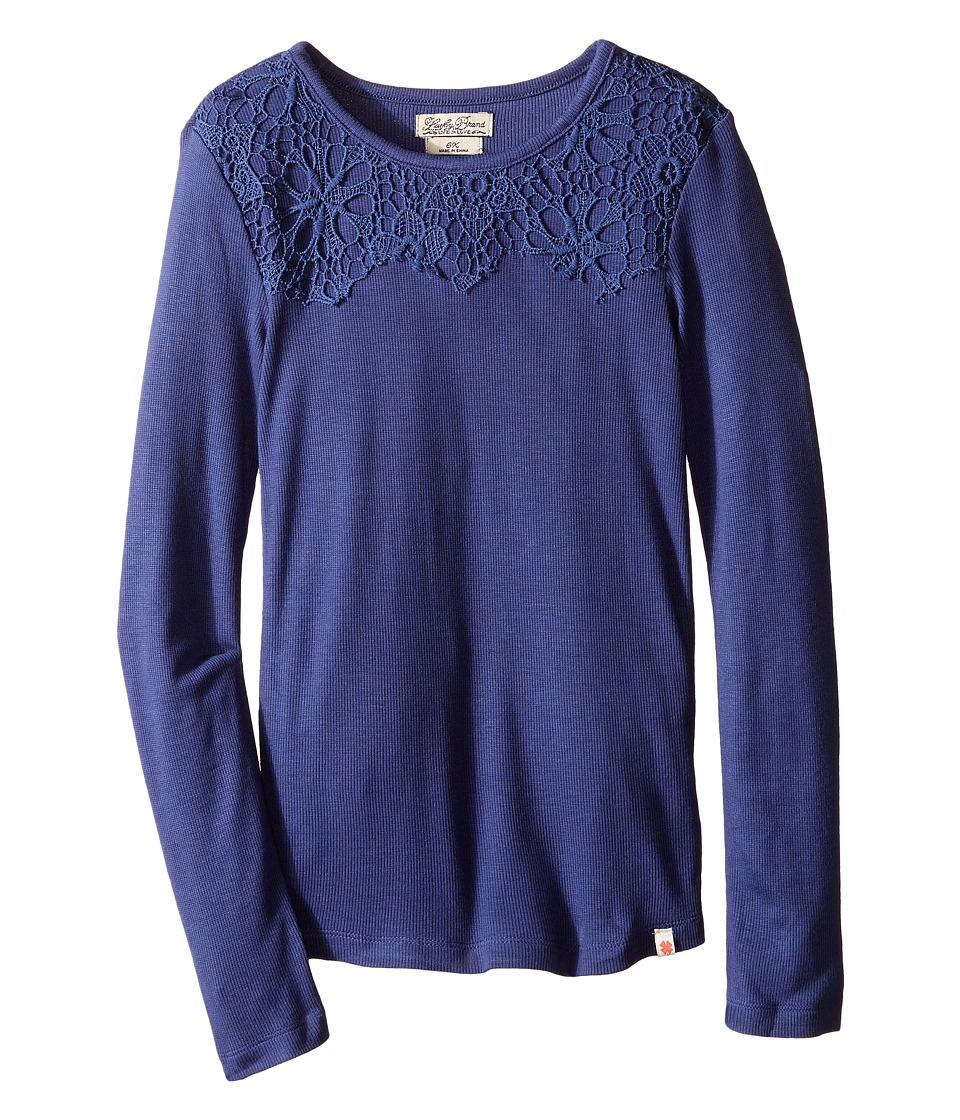 Lucky Brand Kids - Rib/Lace Tee (Little Kids) (Deep Cobalt) Girl's T Shirt