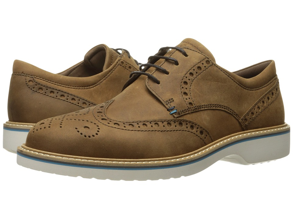 ECCO - Ian Wingtip Tie (Camel) Men's Lace Up Wing Tip Shoes