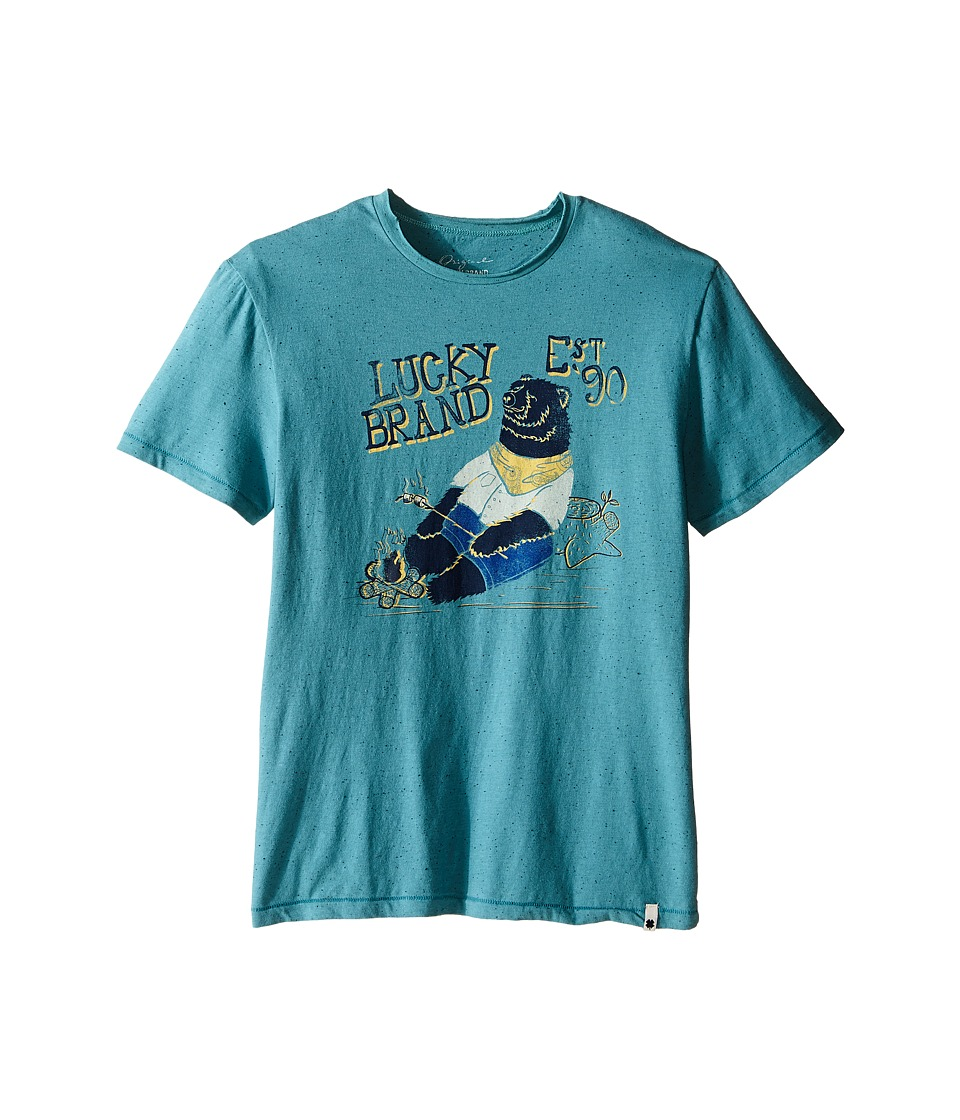 Lucky Brand Kids Fleck Heathered Tee w/ Lucky Bear Screen Print (Big Kids) (Brittany Blue) Boy