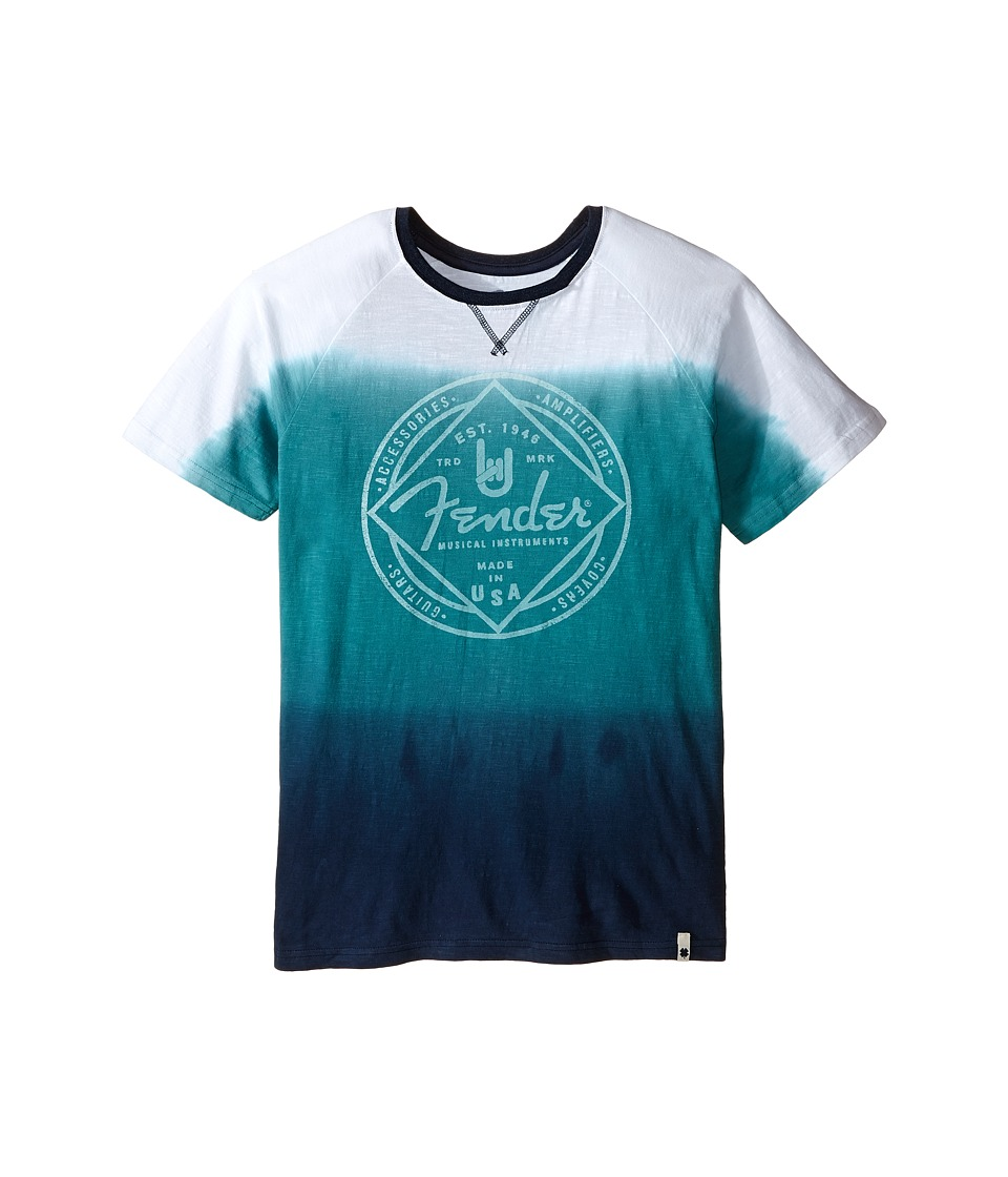 Lucky Brand Kids - Ombre Tee w/ Fender Logo Contrast Colored Ringer Neck (Big Kids) (Brittany Blue) Boy's T Shirt