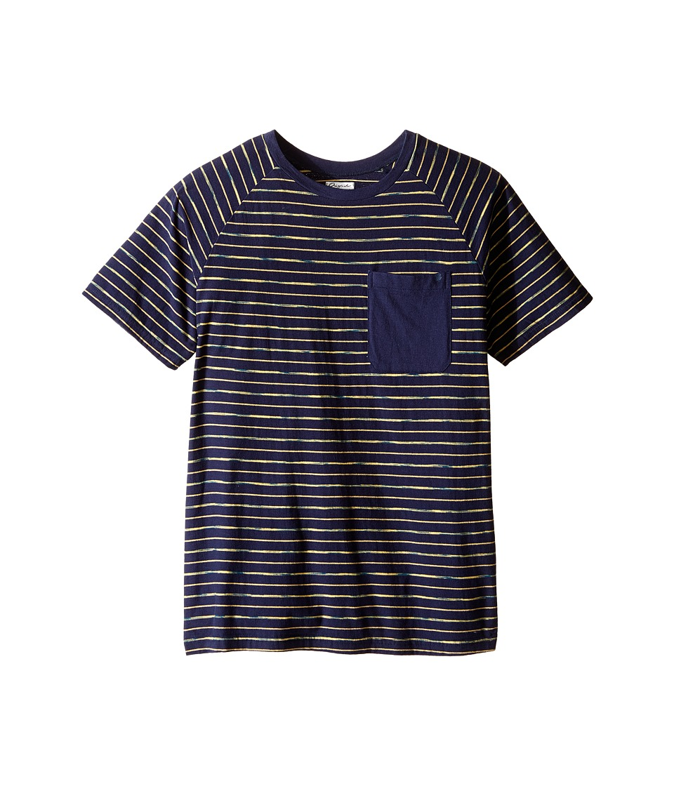 Lucky Brand Kids - Space Dye Striped Tee w/ Front Pocket (Big Kids) (Mood Blue) Boy's T Shirt