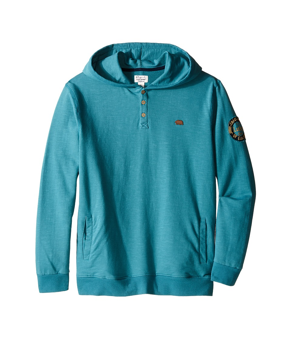 Lucky Brand Kids - French Terry Hoodie w/ Button Front Screen Print On Back (Big Kids) (Brittany Blue) Boy's Sweatshirt