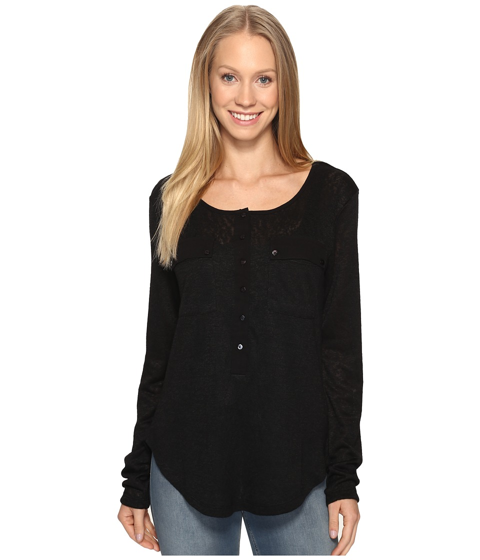 B Collection by Bobeau - Finn Henley Tee Shirt (Black) Women's T Shirt