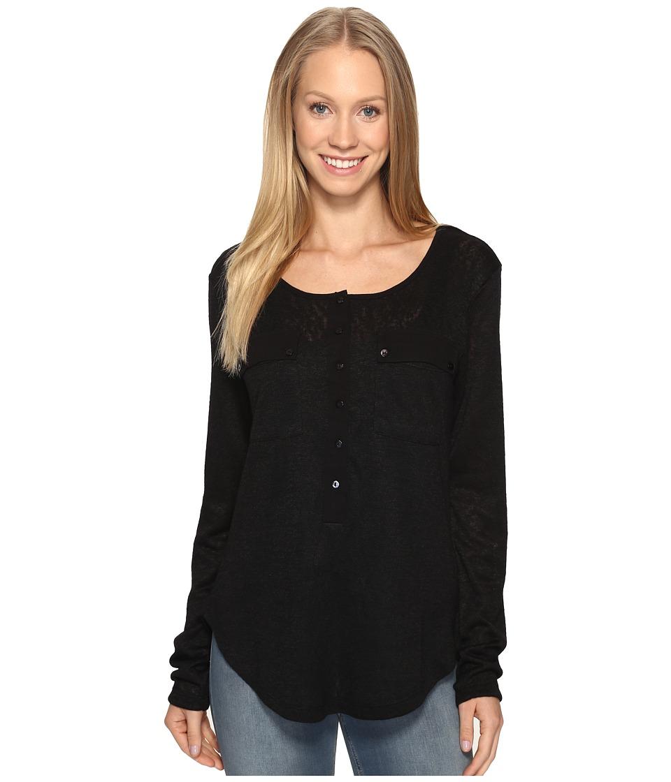 B Collection by Bobeau - Finn Henley Tee Shirt (Black) Women's T Shirt