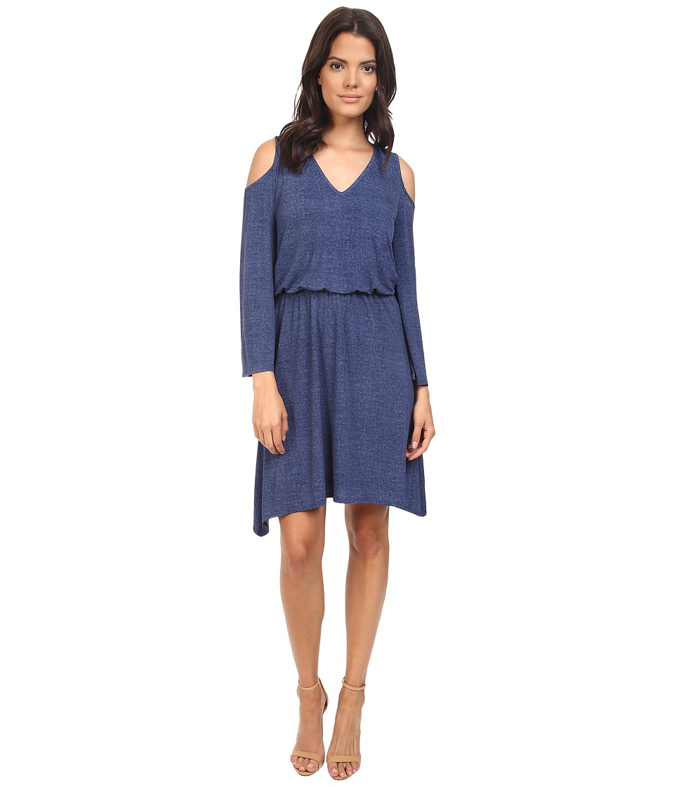London Times - Denim V-Neck Blouson Hanky Hem Dress (Denim) Women