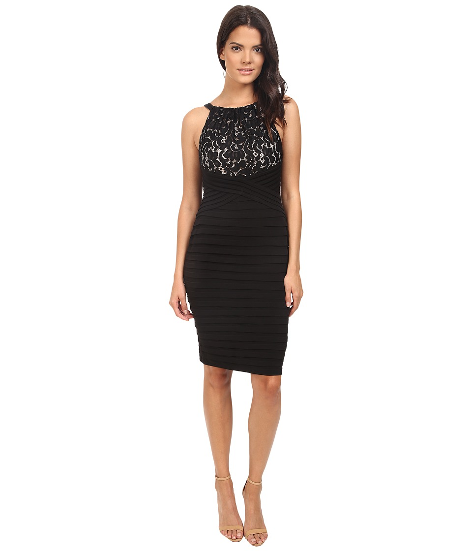 London Times - Lace And Jersey Shutter Sheath Dress (Black/Nude) Women's Dress