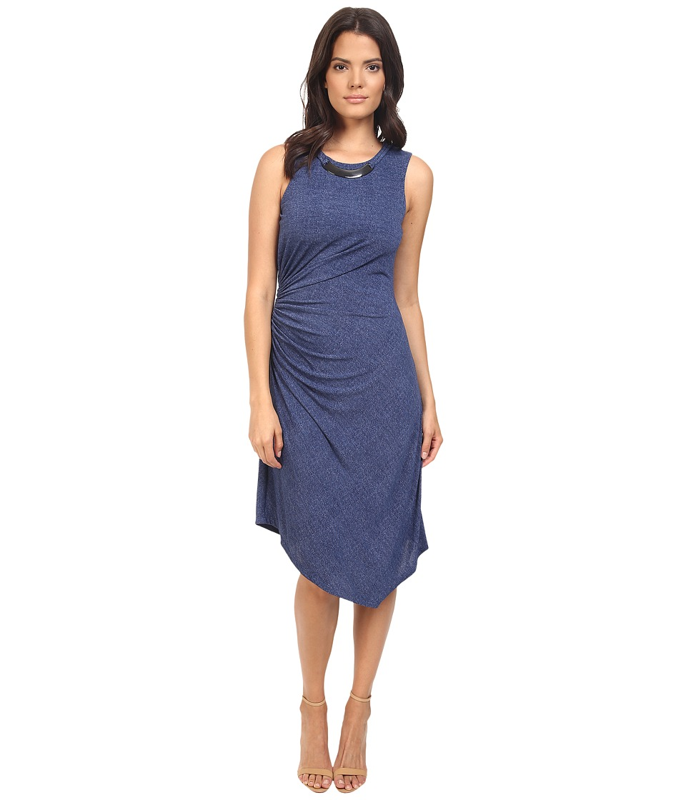 London Times - Denim Jersey Dress w/ Askew Hem Line (Denim) Women's Dress