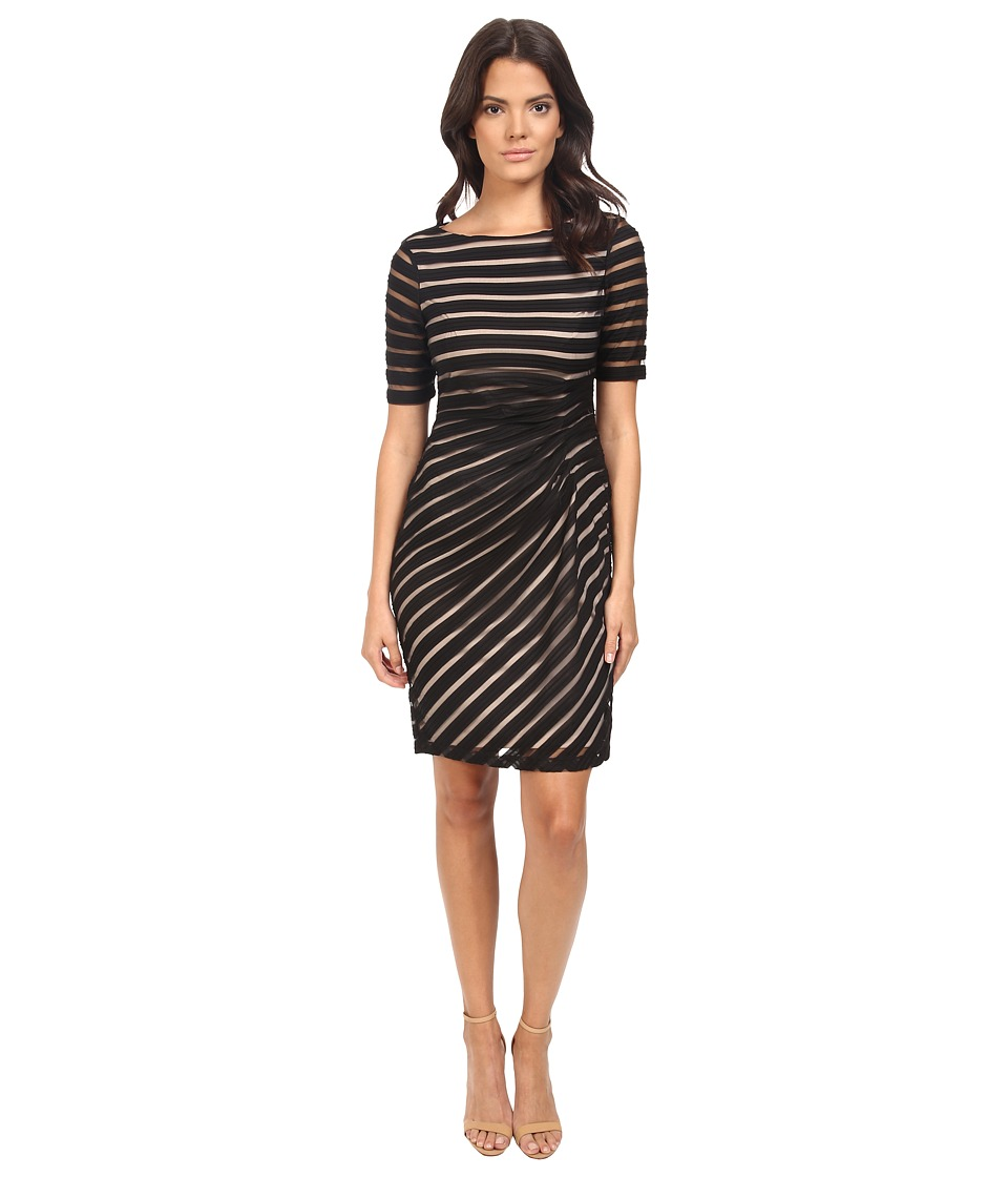London Times Pleated Sheer Stripe Sheath Dress (Black) Women