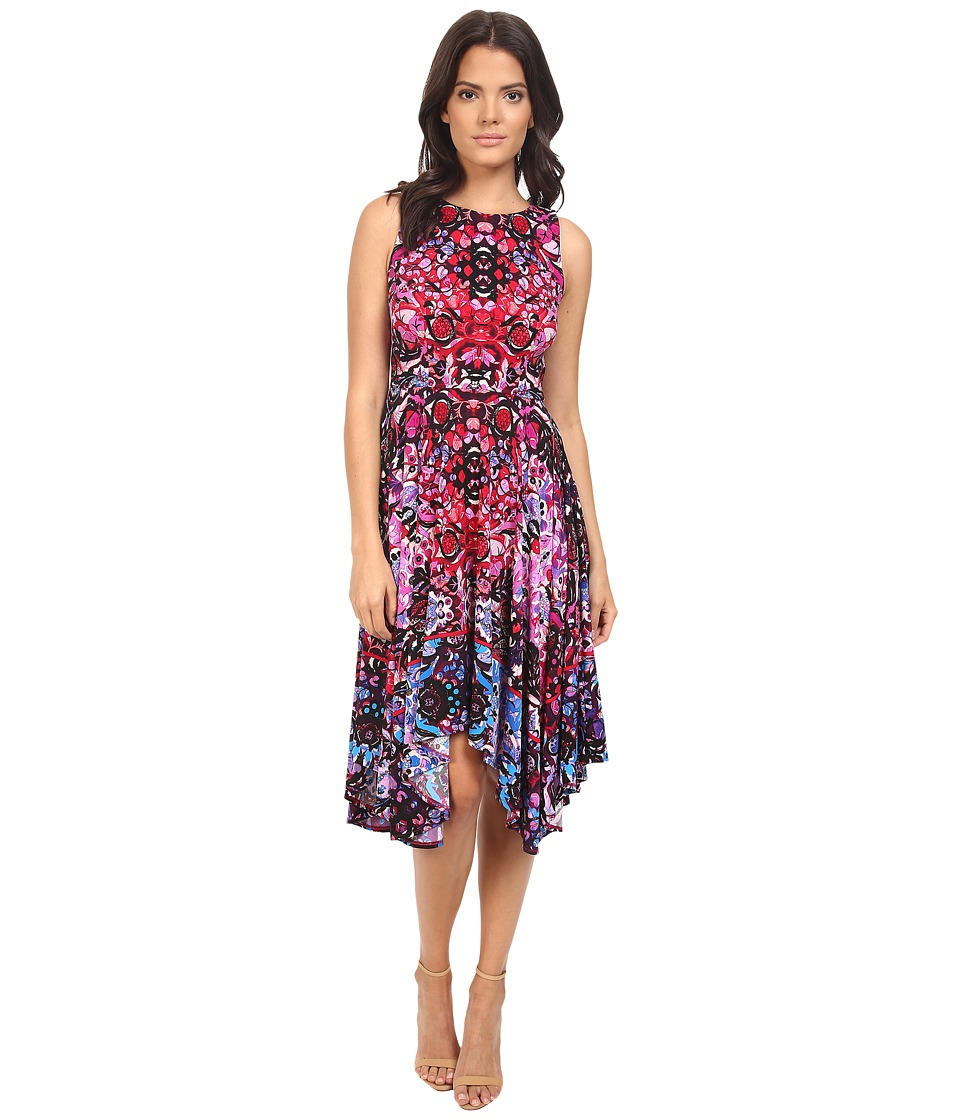 London Times - Twin Scroll Mirror Hanky Hem Dress (Berry Multi) Women's Dress