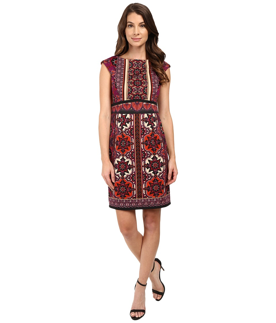 London Times - Heraldic Scroll Cap Sleeve Sheath Dress (Plum Multi) Women's Dress