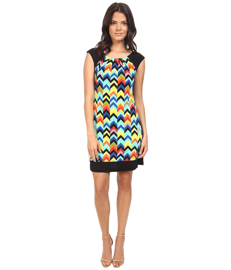 London Times - Cap Sleeve Vintage Chevron Print Dress (Multi) Women's Dress