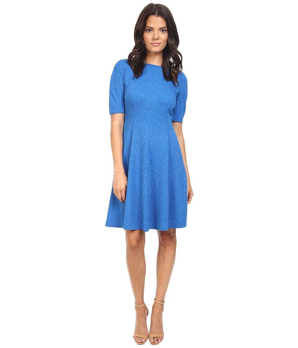 London Times - Swirl Texture Dress Elbow Sleeve (Blue) Women