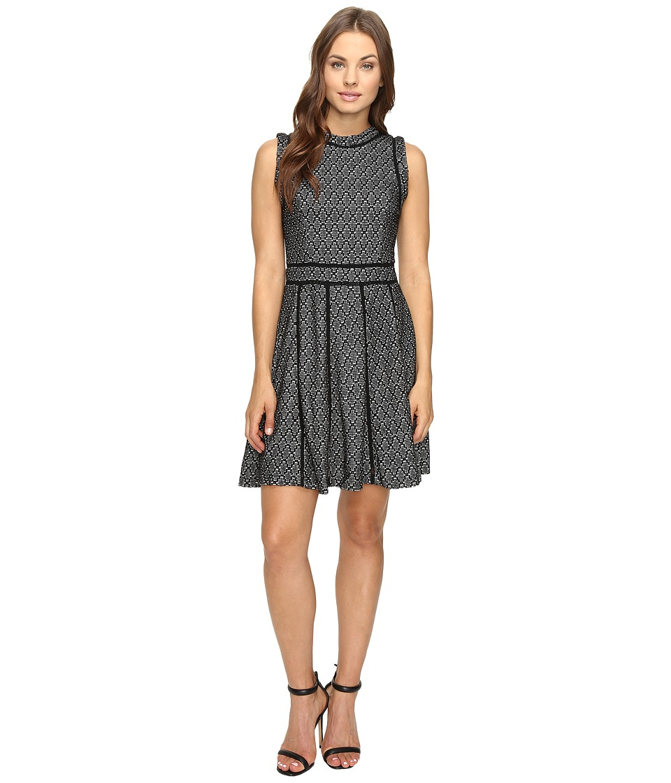 Adelyn Rae Fit and Flare Dress with Black Trim (Black/Ivory) Women