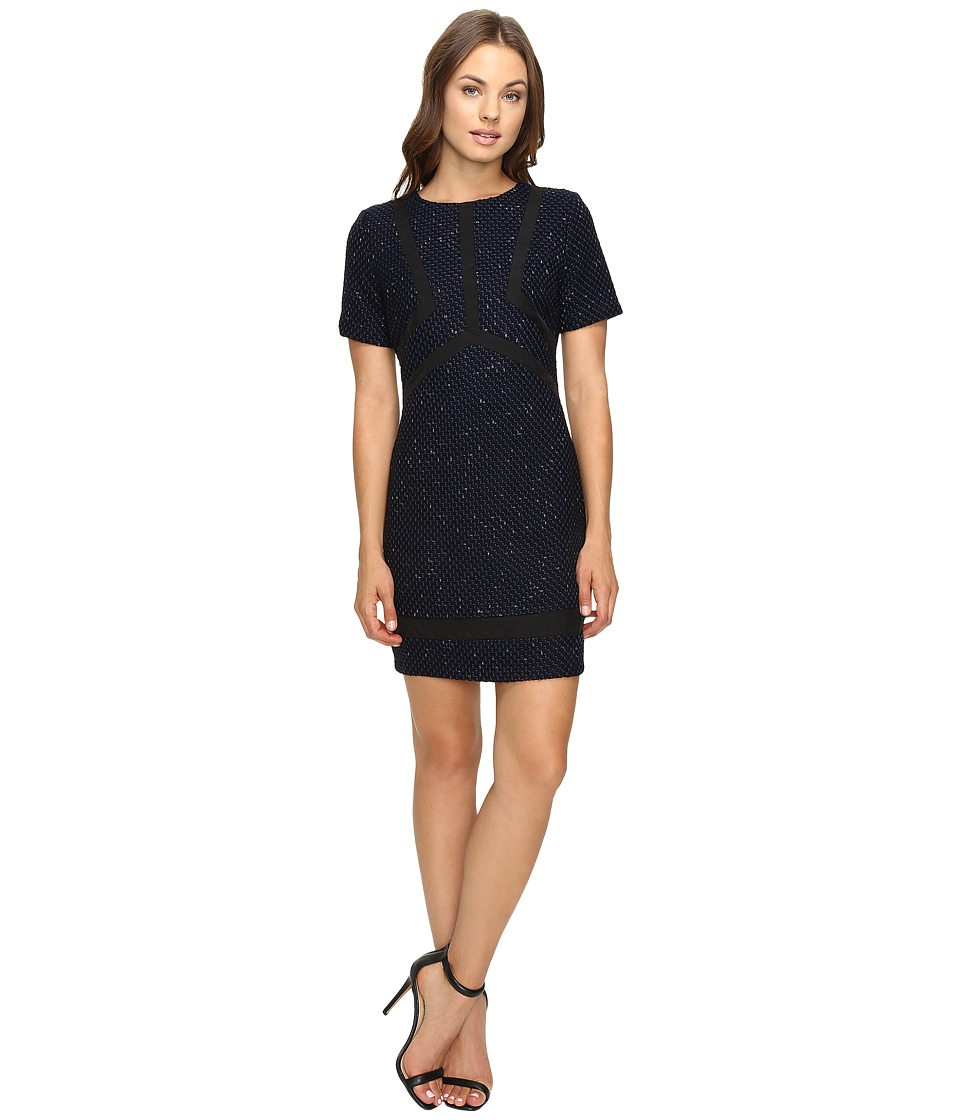 Adelyn Rae - Tweed Dress with Sheer Panels (Navy) Women's Dress
