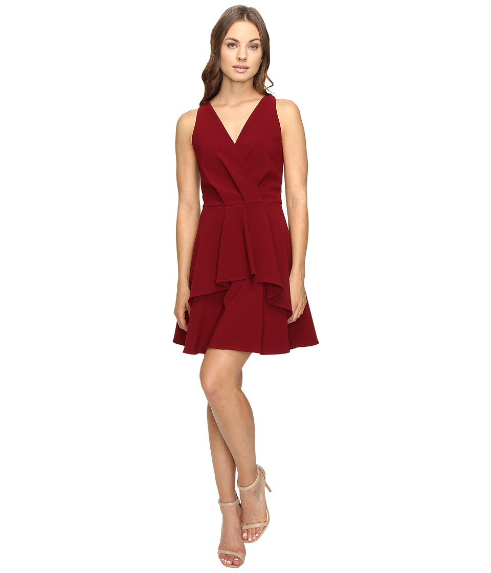 Adelyn Rae - Fit and Flare Dress with Front Ruffle (Bordeaux) Women's Dress