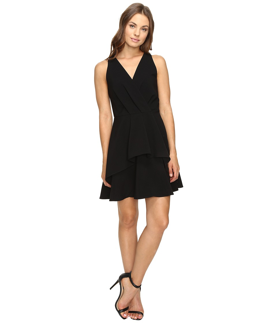 Adelyn Rae - Fit and Flare Dress with Front Ruffle (Black) Women's Dress