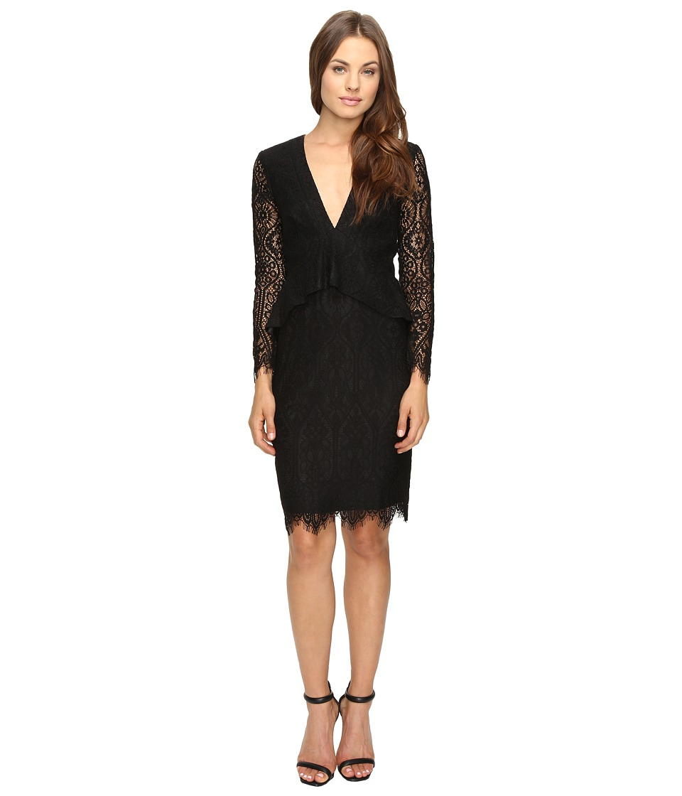 Adelyn Rae - Lace Long Sleeve Dress with Ruffle Peplum (Black) Women's Dress