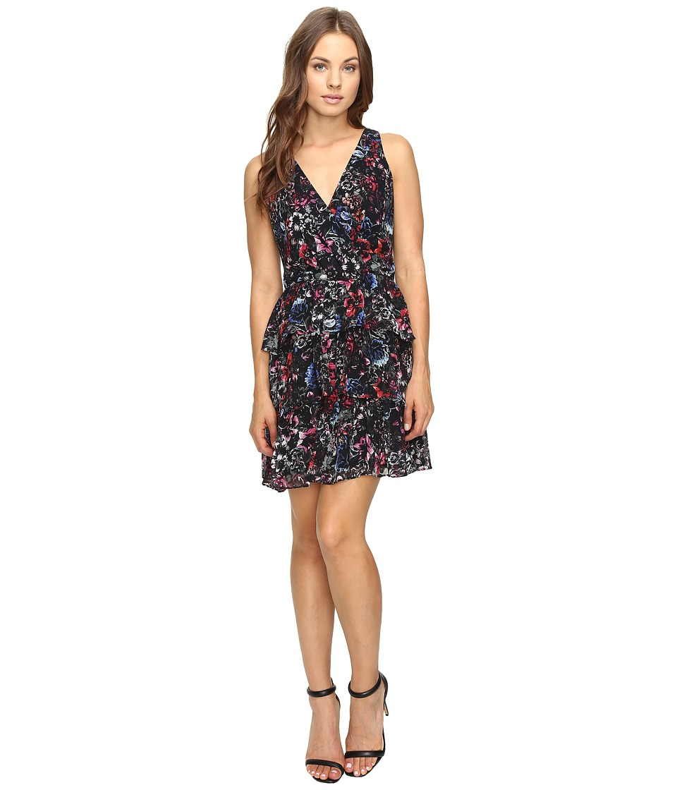 Adelyn Rae - Printed Ruffle Fit and Flare Dress (Black Multi) Women's Dress