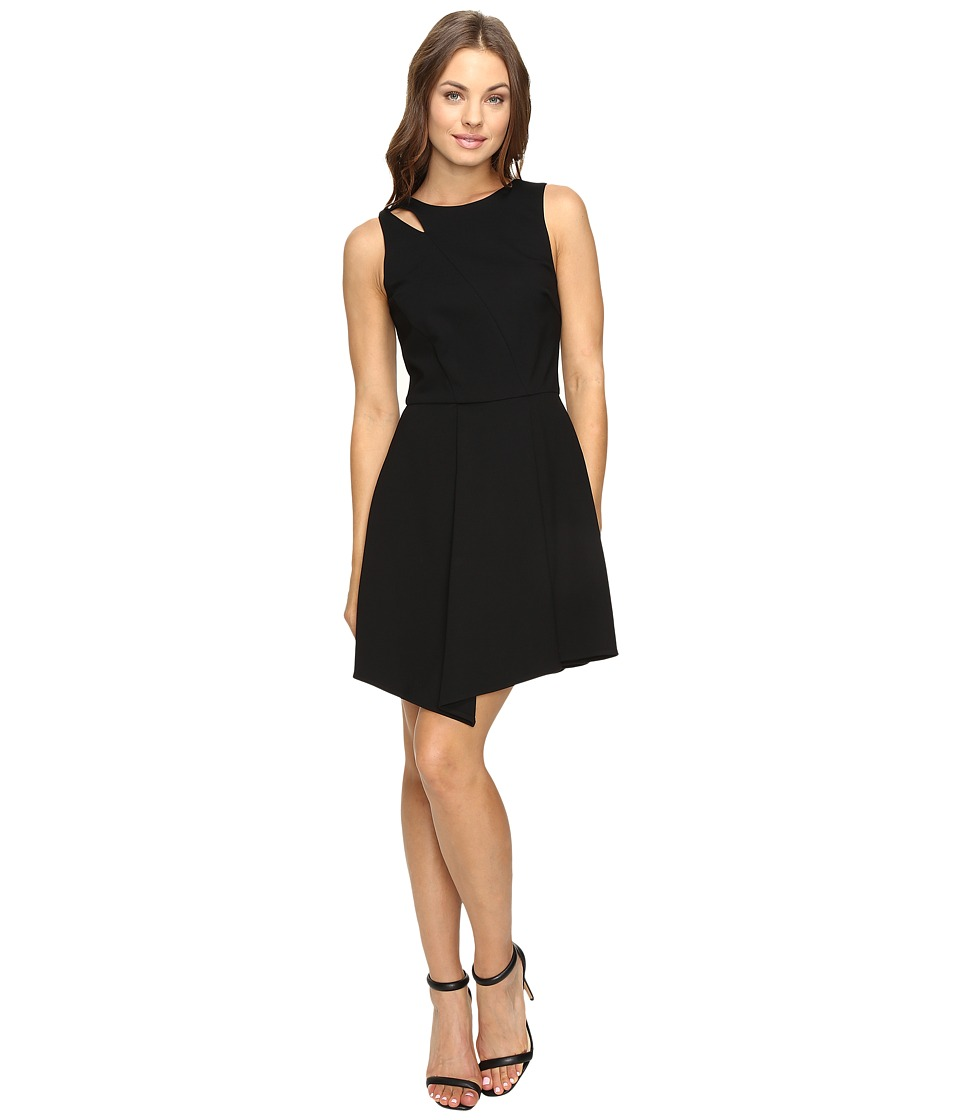 Adelyn Rae - Fit and Flare Dress with Asymmetrical Hem (Black) Women's Dress