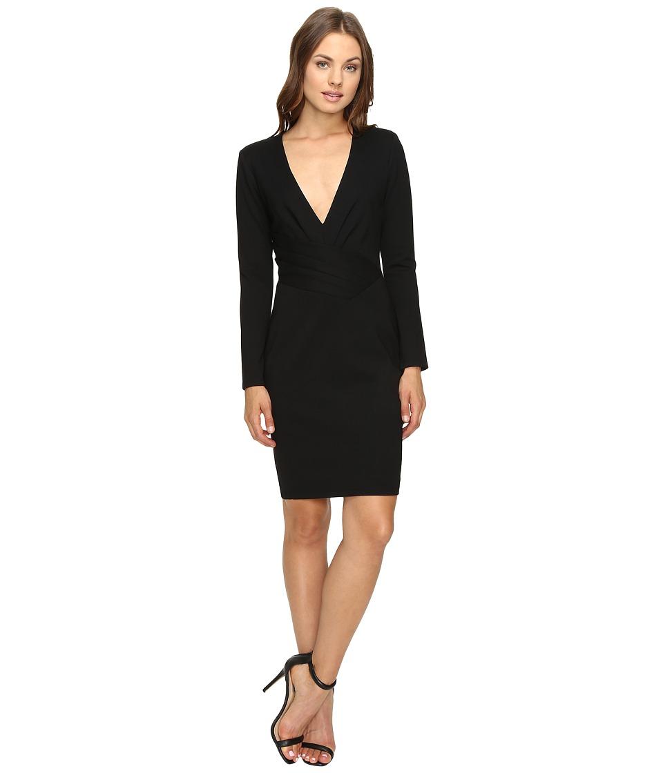 Adelyn Rae Long Sleeve Dress with Deep Vee (Black) Women