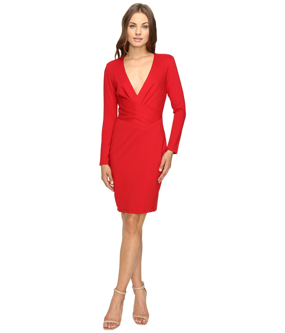 Adelyn Rae - Long Sleeve Dress with Deep Vee (Red) Women's Dress