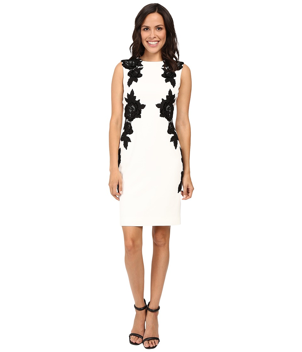 Tahari by ASL - Sheath with Mirrored Velvet Floral Applique (Ivory White/Black) Women's Dress