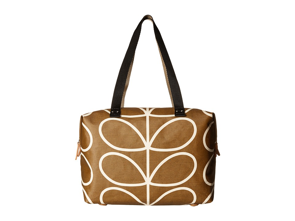 Orla Kiely - Matt Laminated Giant Linear Stem Print Zip Shopper (Camel) Handbags