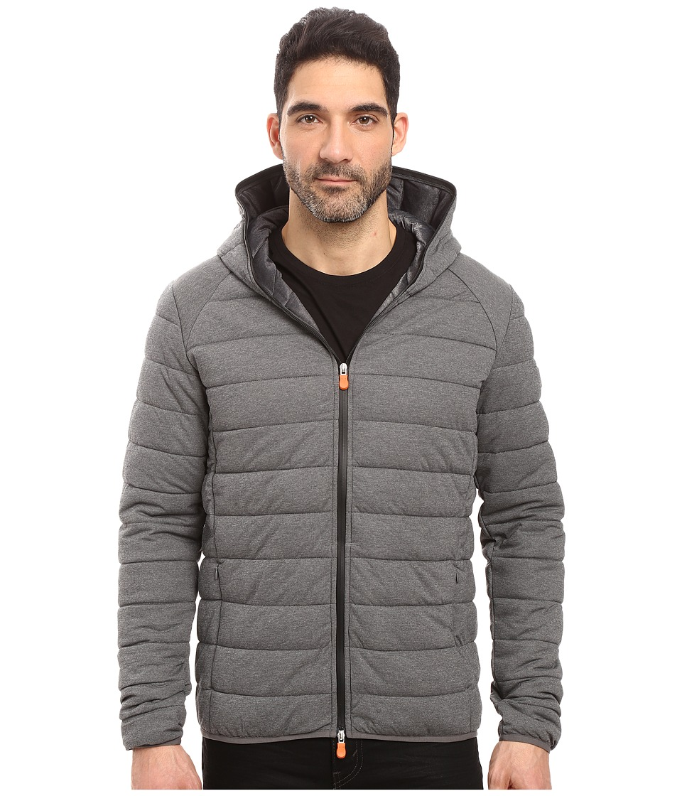 Save the Duck - Hooded Stretch Puffer Jacket (Opal Grey Melange) Men's Coat