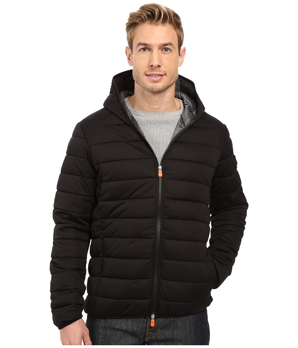 Save the Duck - Hooded Stretch Puffer Jacket (Black) Men's Coat