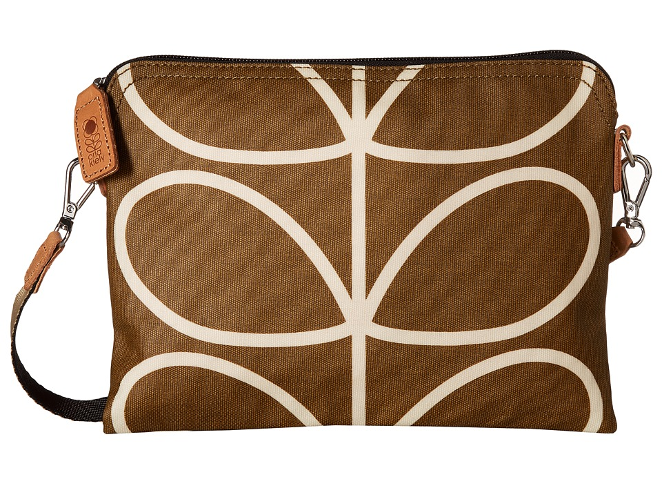 Orla Kiely - Matt Laminated Giant Linear Stem Print Travel Pouch (Camel) Handbags