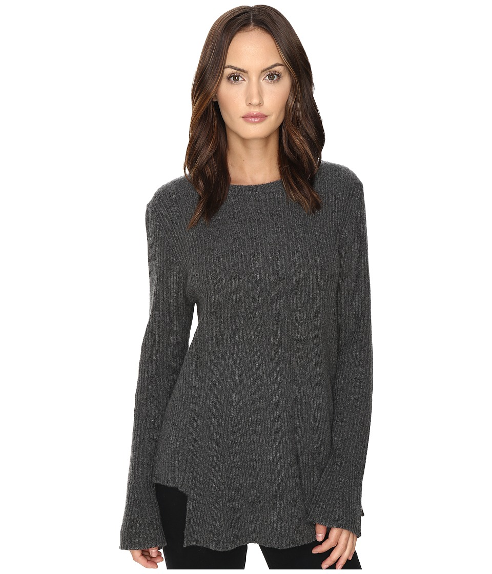Cashmere In Love - True Frill Detailed Ribbed Pullover (Grey) Women's Long Sleeve Pullover