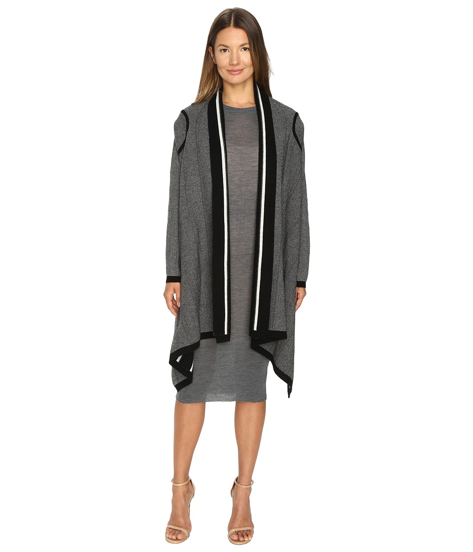 Cashmere In Love - Tate Reversible Cardigan (Black/Grey) Women's Long Sleeve Pullover