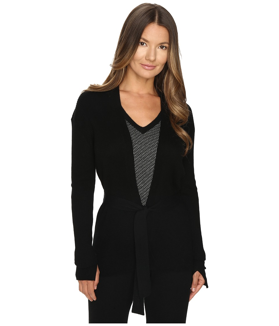 Cashmere In Love - Tayla Ribbed Open Front Cardigan (Black) Women's Long Sleeve Pullover