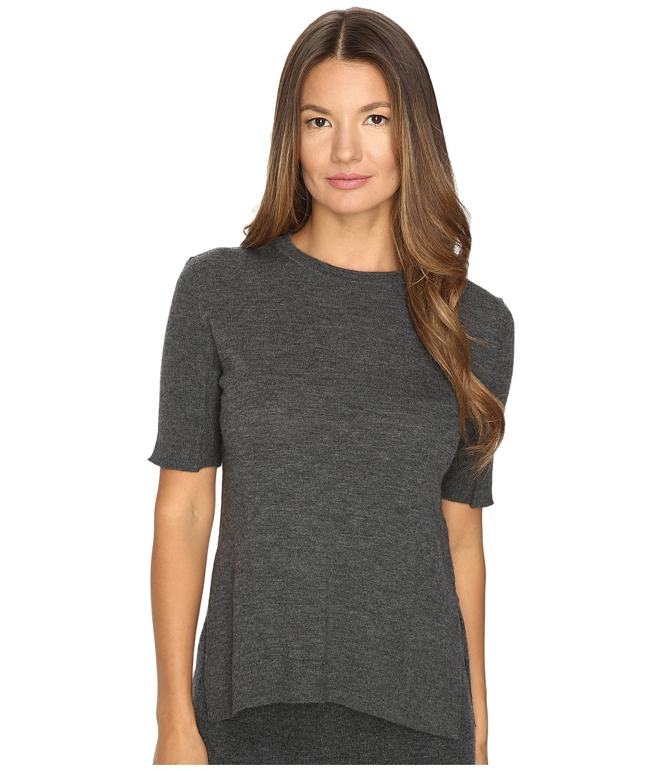 Cashmere In Love - Sahar Open Sides Ribbed Tee (Flannel Grey) Women's T Shirt