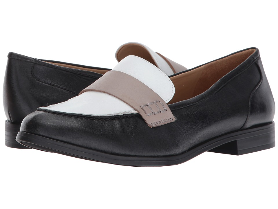 Naturalizer - Veronica (Black/White/Grey Leather) Women's Slip on Shoes