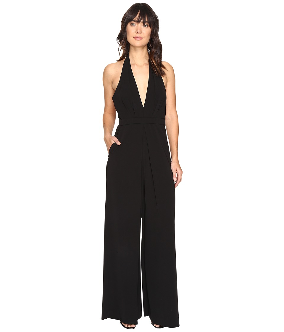 JILL JILL STUART - Halter Deep V 2-Ply Crepe Jumpsuit (Black) Women's Jumpsuit & Rompers One Piece
