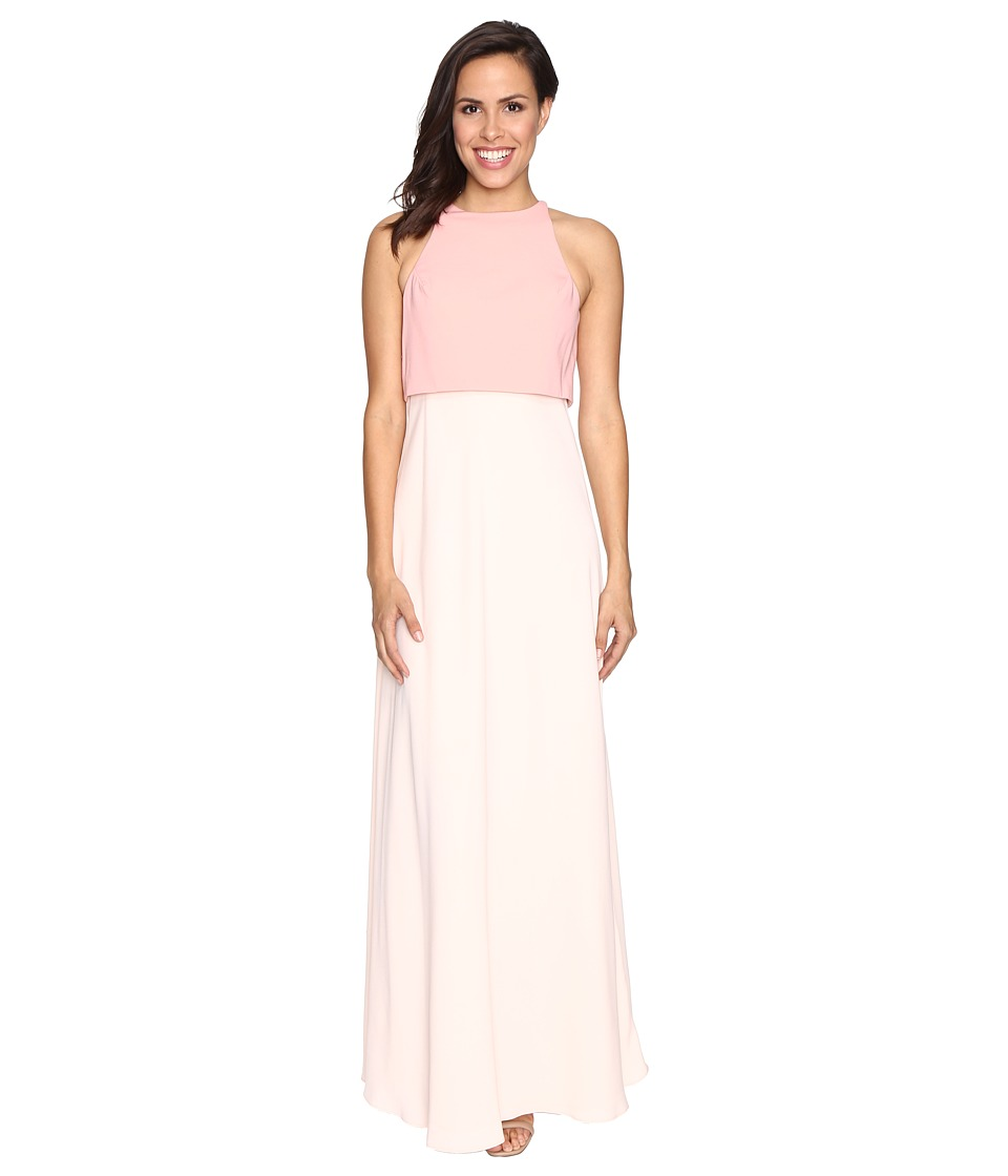 JILL JILL STUART - Two-Tone Pop Over 2-Ply Crepe Gown (Blush Pink/Powder) Women's Dress
