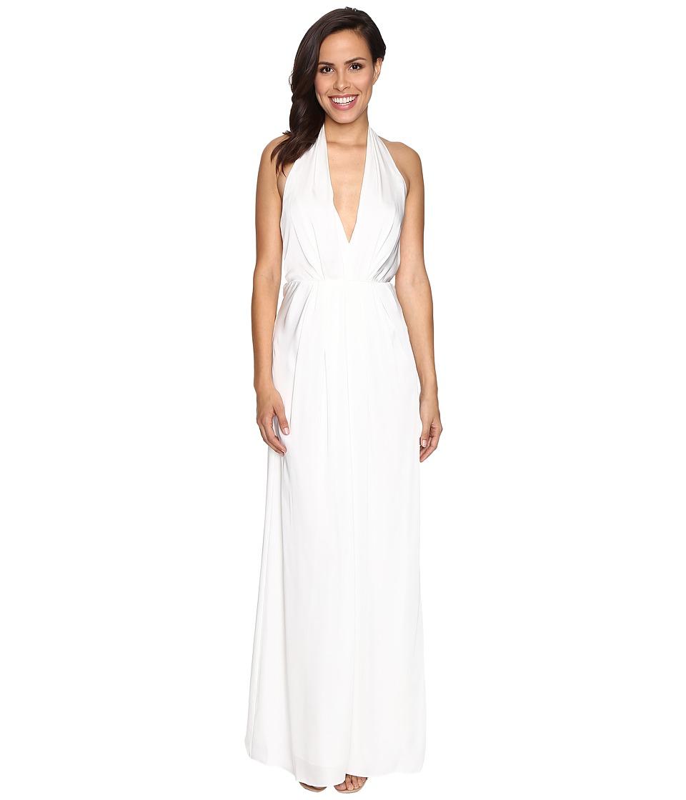 JILL JILL STUART Halter Plunging Neck Gown (Off-White) Women