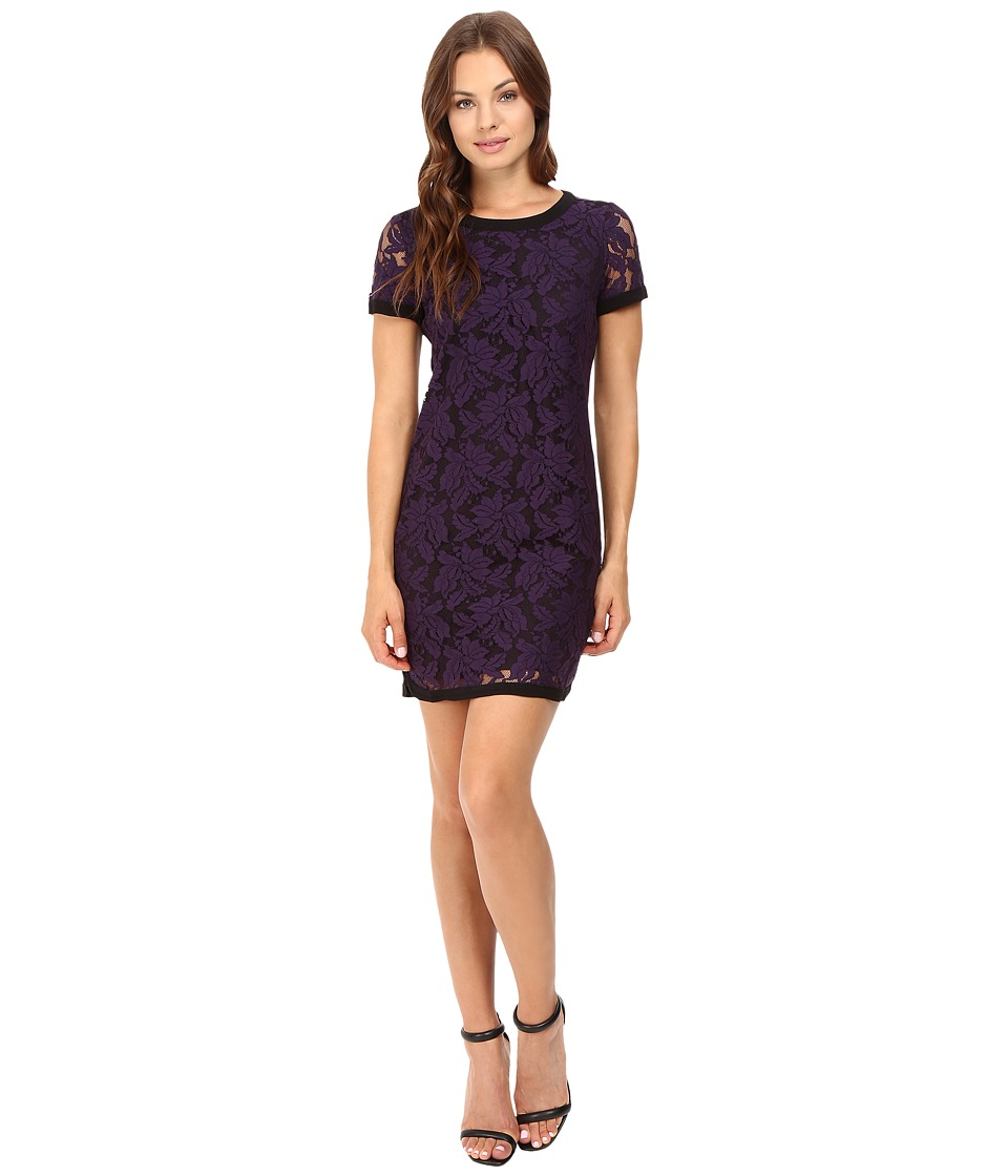 Donna Morgan - Short Sleeve Easy Shift Lace Dress with Combo (Amethyst) Women's Dress