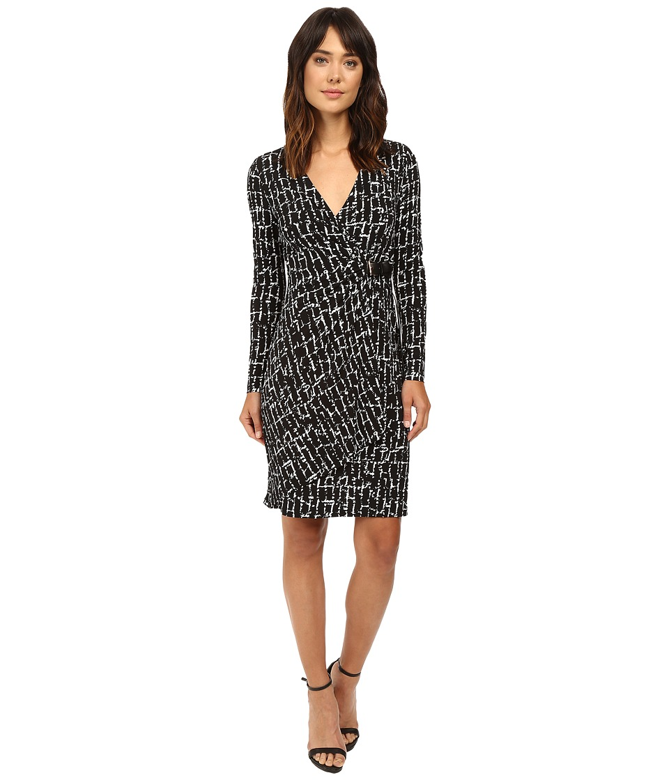 Calvin Klein - Long Sleeve Side Ruched Dress CD6A3603 (Black/White) Women's Dress
