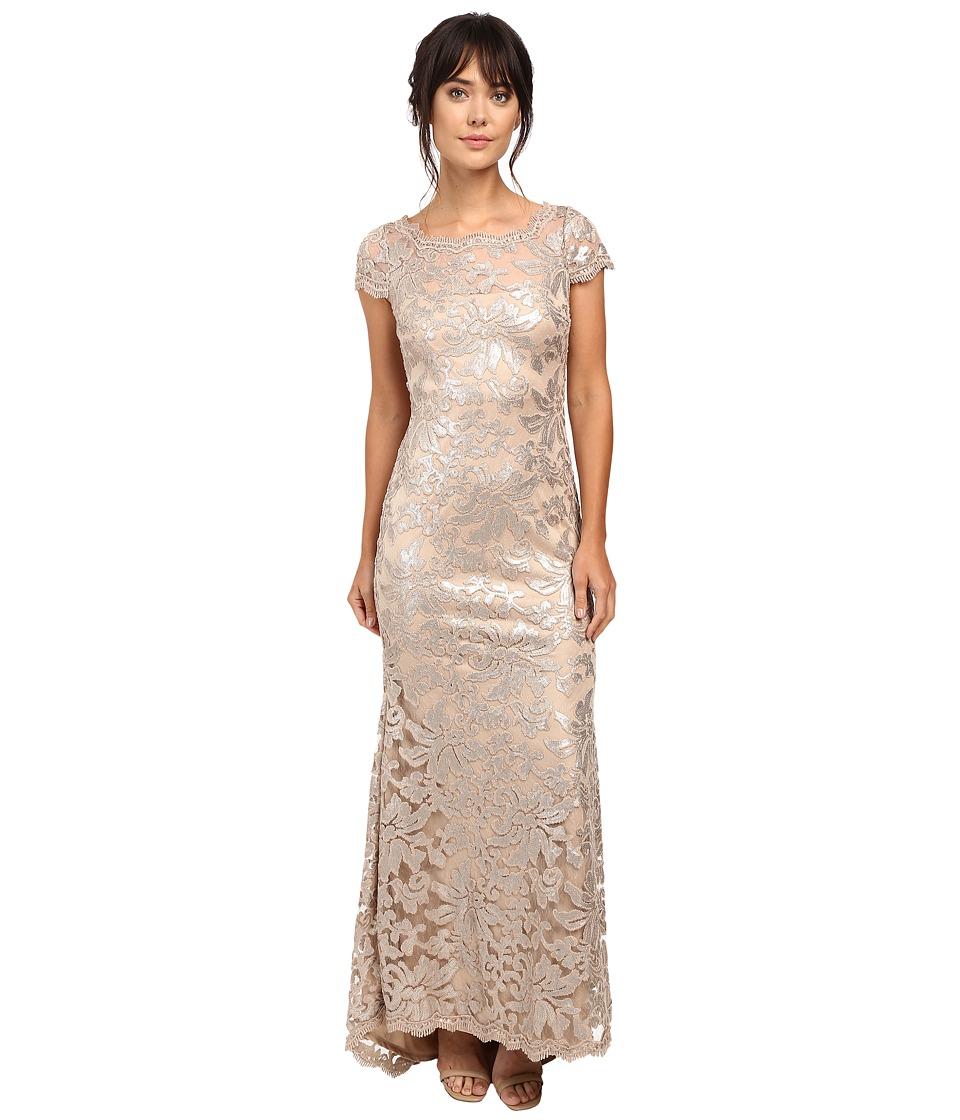 Calvin Klein - Short Sleeve Lace Sequin Gown CD6B1X6Q (Khaki) Women's Dress