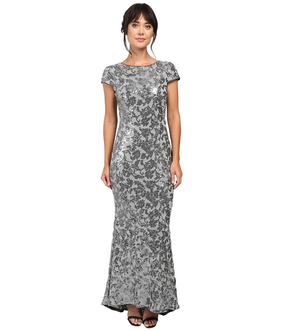 Calvin Klein - Short Sleeve Sequin Gown CD6B1P9W (Charcoal) Women's Dress